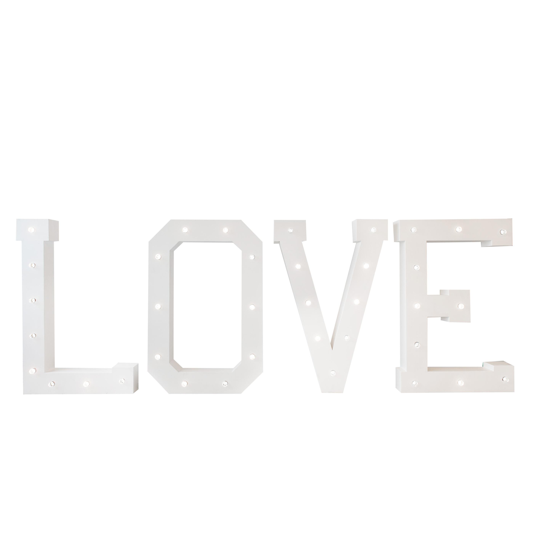 LOVE letters met verlichting 1.60 m. Feestmateriaal verhuur