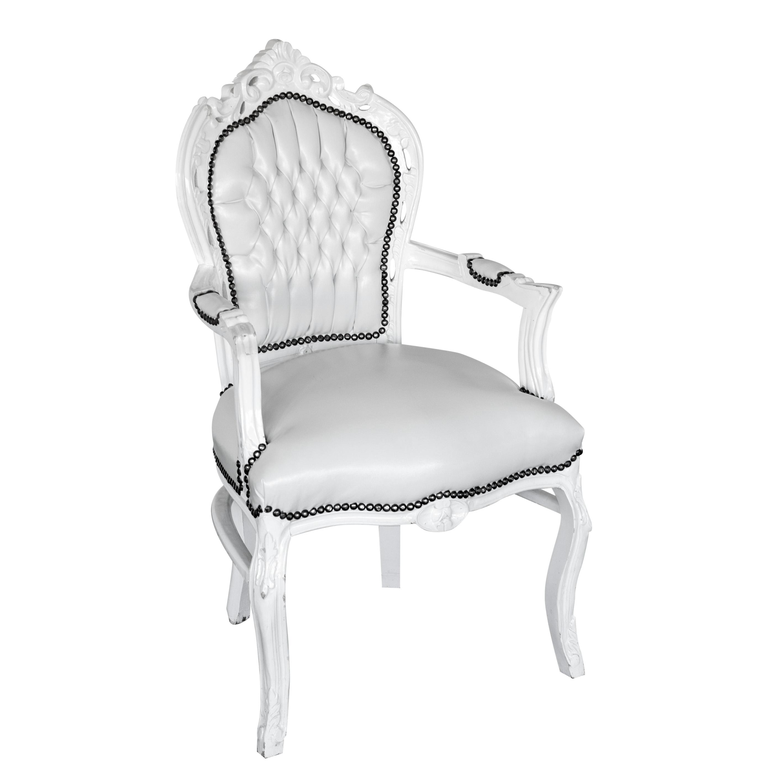 Barokstoel wit met armleuning feestmateriaalverhuur for Witte eetkamerstoelen met armleuning