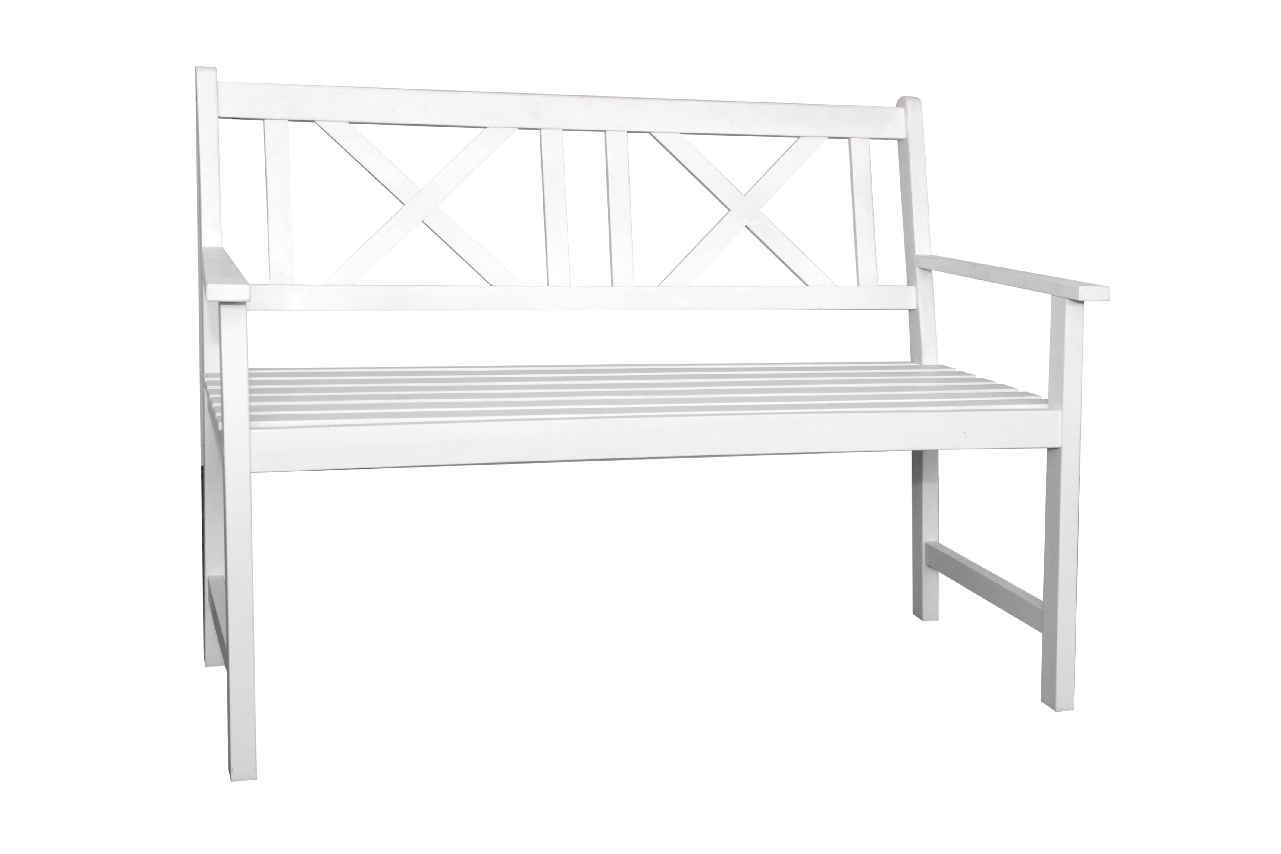 witte houten bankje Feestmateriaalv erhuur